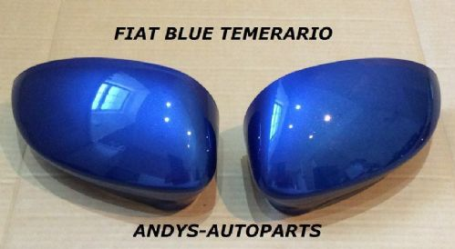 FIAT PUNTO 2012 ONWARDS PAIR OF WING MIRROR COVERS L/H & R/H IN BLUE TEMERARIO